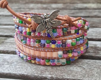 Beaded Wrap Bracelet - Beaded Bracelet - Wrap Bracelet - Fairy Jewelry - Whimsical Jewelry - Gift for Her - Leather Bracelet - Leather Wrap