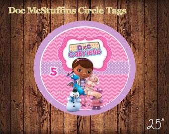 Doc Mcstuffins Circle Tags , Personalized Doc Mcstuffins Labels, Party Labels, Printable Supplies, Party Supplies