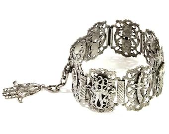 Egypt Filigree Bracelet, Hamsa Fatimas Hand, Middle East Muslim Jewelry, Antique 20s, 900 Silver Bracelet, Arabic Islamic, Elephant Jewelry