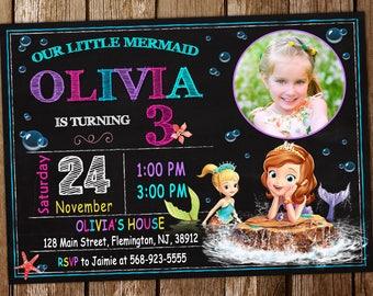 Sofia Mermaid Invitation Birthday Party Sofia Invitation Birthday Party Mermaid Invitation Sofia the First Birthday Invitation