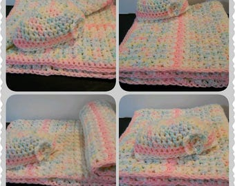 Crochet'd Pink Baby Blanket and Matching Hat, Perfect Baby Shower Gift, Coming Home Baby Blanket Set