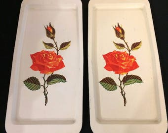 Vintage Metal Trays / Set of Two Vintage Metal Trays / 1950's Metal Trays / Rose Design Trays