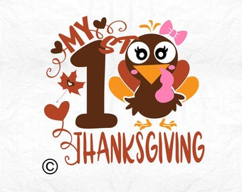 my first thanksgiving turkey SVG Clipart Cut Files Silhouette Cameo Svg for Cricut and Vinyl File cutting Digital cuts file DXF Png Pdf Eps