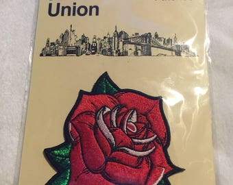 Red rose iron on patch by artist union