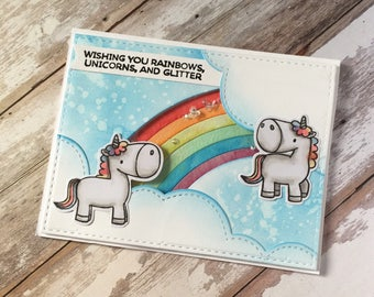 Rainbow , unicorns , glitter , birthday card, hand made, shaker , sequence , happy, fairytales
