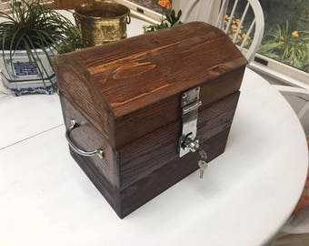 Small Wooden Treasure Chest with lock and key