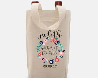 Mother of the Bride Mother of the Groom Wine Tote, Wine Bag, Wine Lover, Wedding, Double Wine Bag, Personalized Wine Tote, Custom Wine Bag