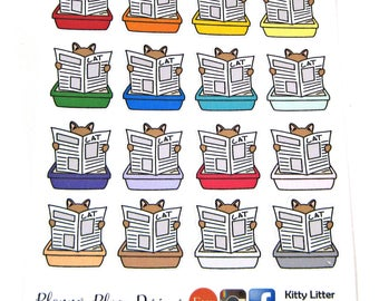 Kitty Litter Stickers - Planner Stickers - Cat Box Reminders - Erin Condren Stickers - Happy Planner Stickers - Functional Stickers