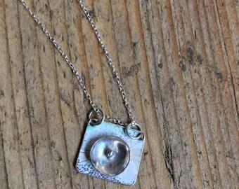 Sterling Silver Necklace. Enamel Pendant. Delicate necklace.