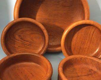 Reduced Vintage Teak Salad Bowl Set