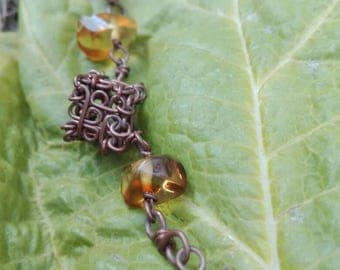 Copper bracelet with Amber