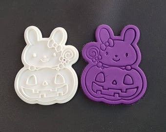 Bunny on the Halloween Pumpkin Cookie Cutter and Stamp