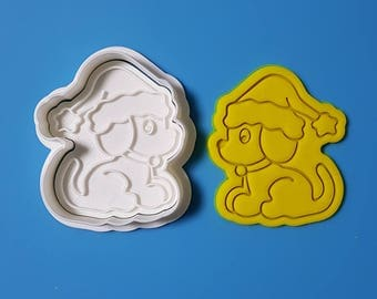 Dog Wearing Santa Hat Cookie Cutter and Stamp