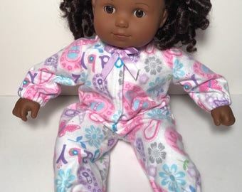Pink and white sleeper for Bitty Baby