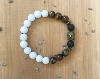 Essential Oil, Diffuser Bracelet, Madre De Cacao Beads, Woodgrain Jasper, Tiger Eye Beads, Gold Buddha Charm, Mala Beads, Yoga Bracelet