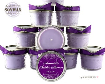 12 ct Silver and purple bridal shower favors, personalized 4 oz soy candles, bridesmaid gift, wedding favors, birthday favors, any occasion