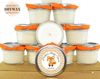 12 ct Woodland Fox baby shower favors, 4 oz personalized soy candles, fall themed party favors, orange and gray color
