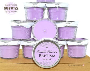 12 ct Purple and silver Baptism favors, 4 oz personalized soy candles, Christening favors, Dedication favors, customized favor candles