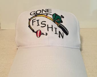 Custom Embroidered Gone Fishin Cap
