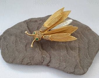 Bee, Insect Trembler Brooch, Unsigned Hattie Carnegie