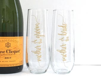 Mother of the Bride Champagne Flute - Personalized Mother of the Groom Gift Bridesmaid Maid of Honor Bride Wedding Glasses -