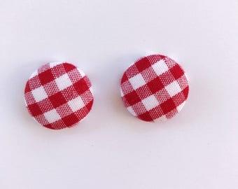 Handmade Red Gingham Fabric Earrings