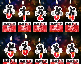 SALE! Cute Mickey/Minnie Number 0-9 Candle|Cartoon theme party|Princess girl 1st first birthday|Baby shower decoration|Centerpiece cup cake