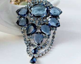 Vintage JULIANA Blue Rhinestone Brooch Statement Jewelry