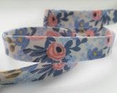 Rifle Paper Co Bias Tape -  Half Inches Double Fold Bias Tape - Quilt Binding - Les Fleurs Rosa Periwinkle
