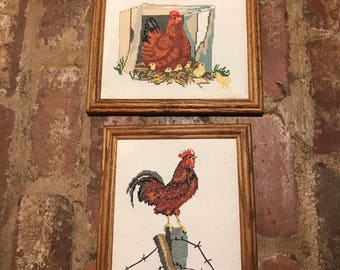 Rooster and hen cross stitch