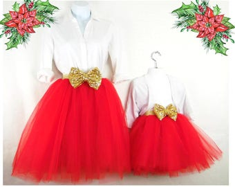 "Mother daughter Matching  Set ""Red"" Knee length tulle skirt, mommy and me tulle skirt , tutu skirts, wedding skirts, plus size"