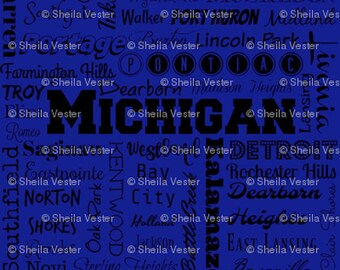 Michigan cities fabric - typography fabric by the yard - gray and black - blue and black