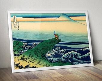 Estampe japonaise Hokusai avec Link pixel (A link to the past) / Art geek et pop pour chambre d'enfant