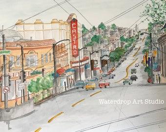 San Francisco Art Print; Watercolor Print; Architecture; Urban Sketch; Whimsical Art Print; Bay Area Art; Castro St. art; Cityscape