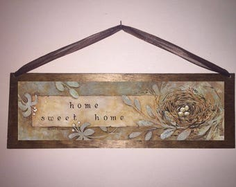 15x5 Home Sweet Home Birdnest Home Decor Sign with Choice of Black Wire or Brown Ribbon for Easy Hanging
