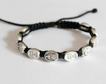 Bracelet Jesus Divine Mercy and Jesus I Trust In You 10 Beaded Medal Saint bracelelt Catholic bracelet.