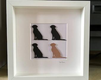 Framed 3D dog picture, Gift for dog lover