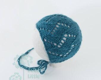Bonnet-Knitted newborn photography prop merino silk