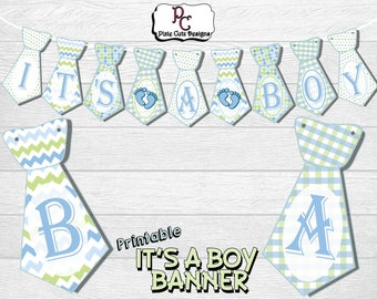 Printable Tie 'It's A Boy' Baby Shower Banner