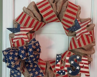 Primitive Red, White and Blue Wreath