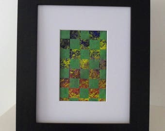 Art Weaving in Green, Blue and Red OOAK Small Art Gift Idea Ready to Ship