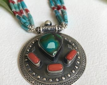 Turquoise Coral ethnic gemstone necklace with matching earrings