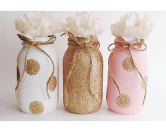 Glitter Centerpieces, Glitter Mason Jars, Gold First Birthday, Pink and Gold Centerpieces