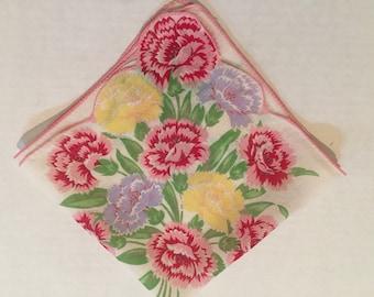 Vintage Handkerchief  / Carnations