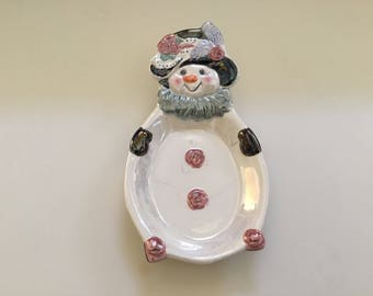 Vintage Christmas / Snowman Spoon Rest / Soap Dish