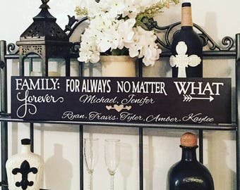 Family Forever No Matter What Wood Sign, Wood Wall Hanging, Home Decor, Rustic Modern, Birchwood, Pine,sign