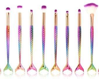 10 pc Mermaid Makeup brushes - make up brushes - brushes - mermaid - mermaid makeup brushes - mermaid brushes - free shipping