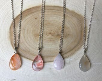 Teardrop Healing Chakra Crystal Quartz Necklace, Bohemian Jewelry, Valentine's Day Gift