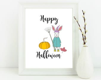 Happy Halloween print, Autumn decor, home decor, bunny print, halloween print, halloween decor, autumn wall art