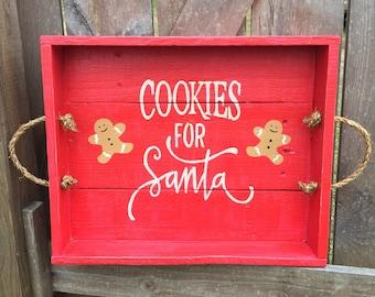 Cookies for Santa Christmas Tray / Wooden Christmas Tray / Cookies for Santa Christmas Sign/ Christmas decor / Wooden Tray / decorative tray